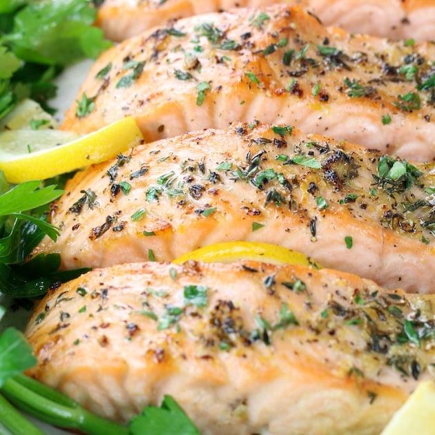 lemon pepper salmon on platter