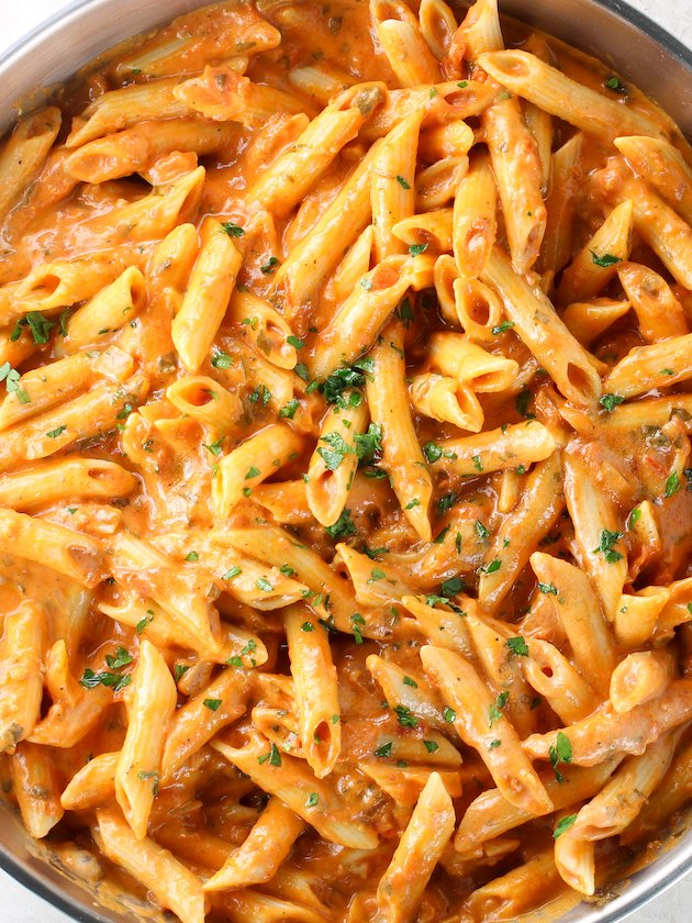 close up birds eye view of penne pasta alla vodka
