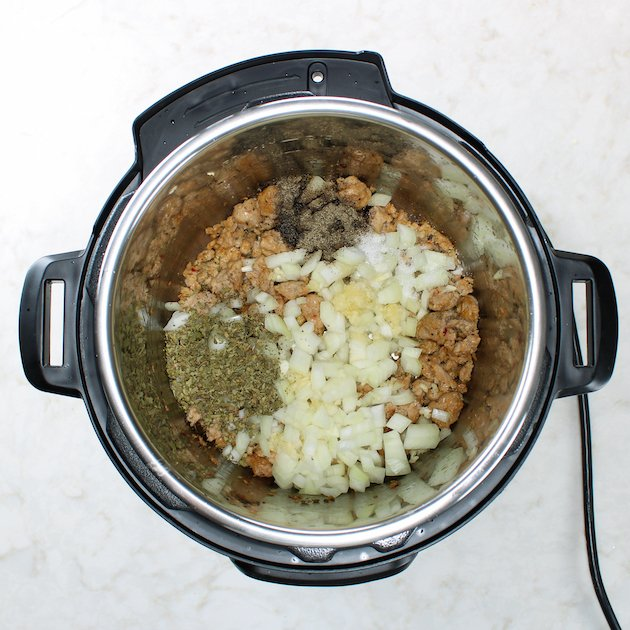 soup ingredients in an instant pot