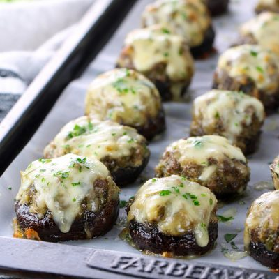 Philly Cheesesteak Stuffed Mushrooms (Low Carb)