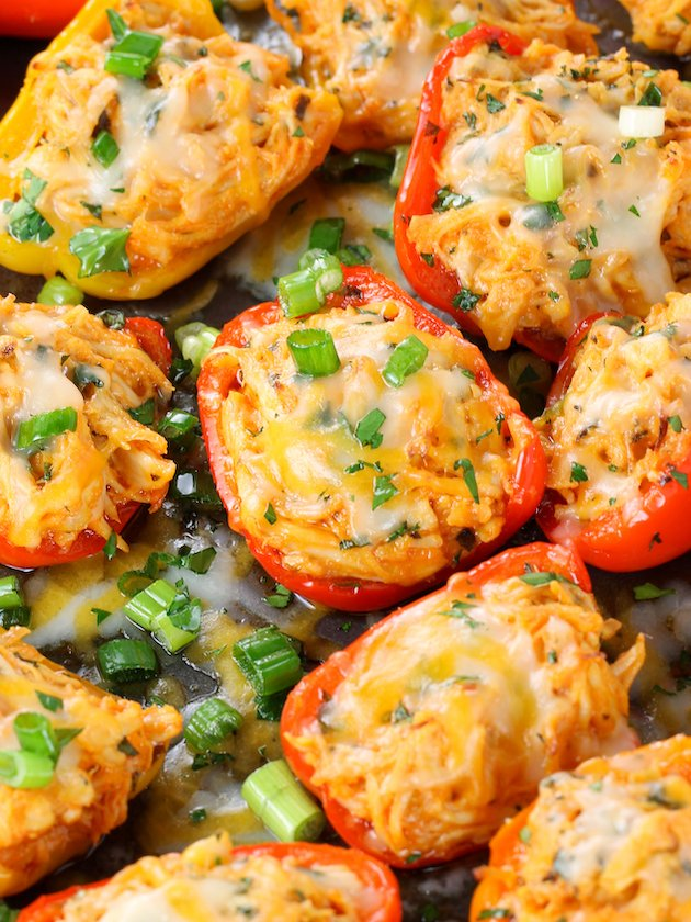 Baby Bell Peppers Stuffed with Buffalo Chicken