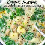 close up bowl of zuppa toscana