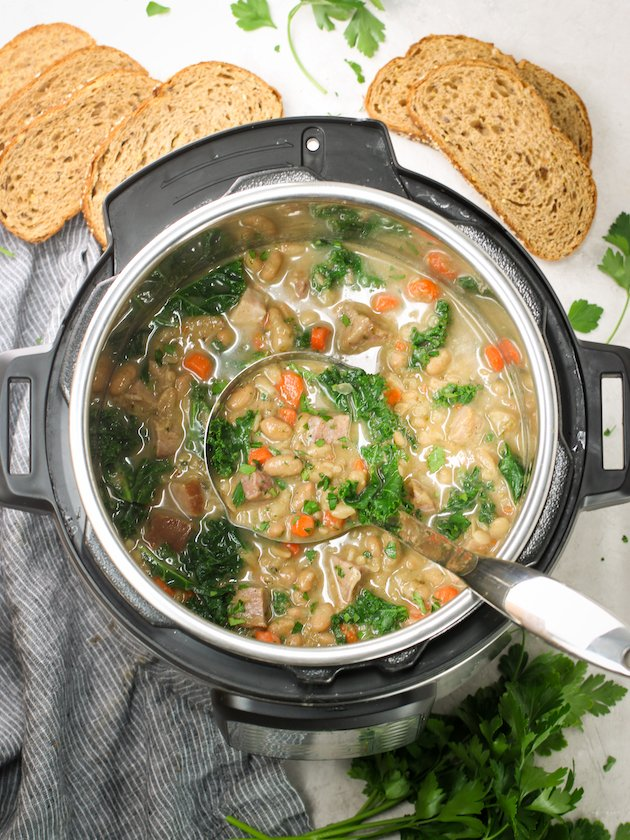 Instant Pot full of White Bean Soup with ham and kale