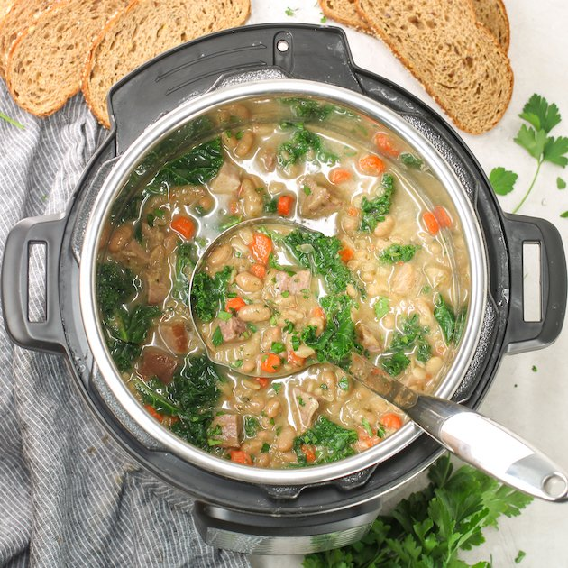 instant pot of white bean and ham soup