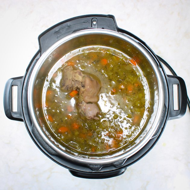 Instant pot with cooked ham hock