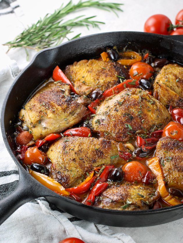 partial cast iron skillet with Chicken fricassee