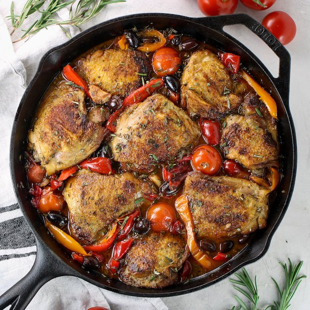 Chicken Fricassee in a cast iron skillet