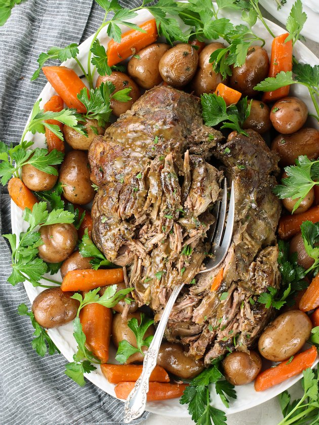 Pulled Slow Roasted Leg of Lamb