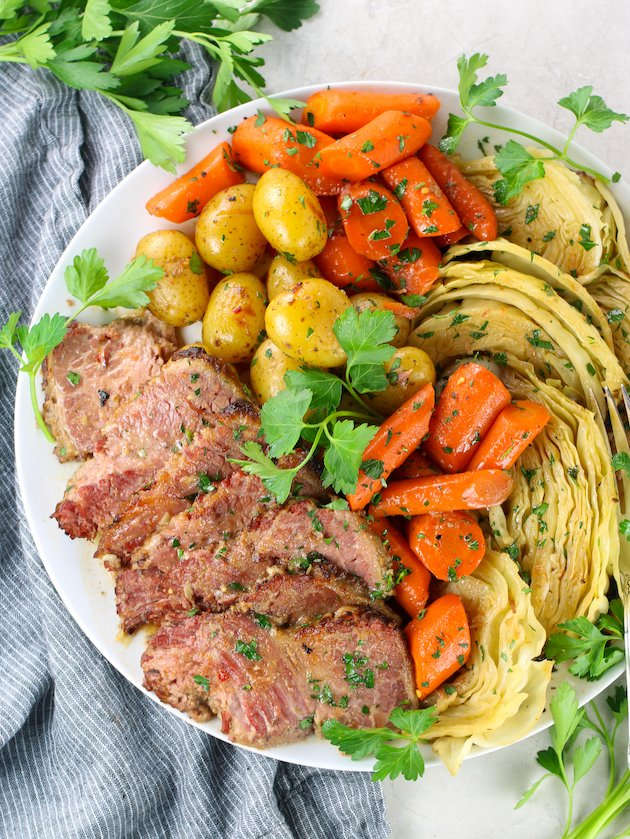 platter of St. Patrick's day dinner with corned beef, potatoes, carrots, and cabbage