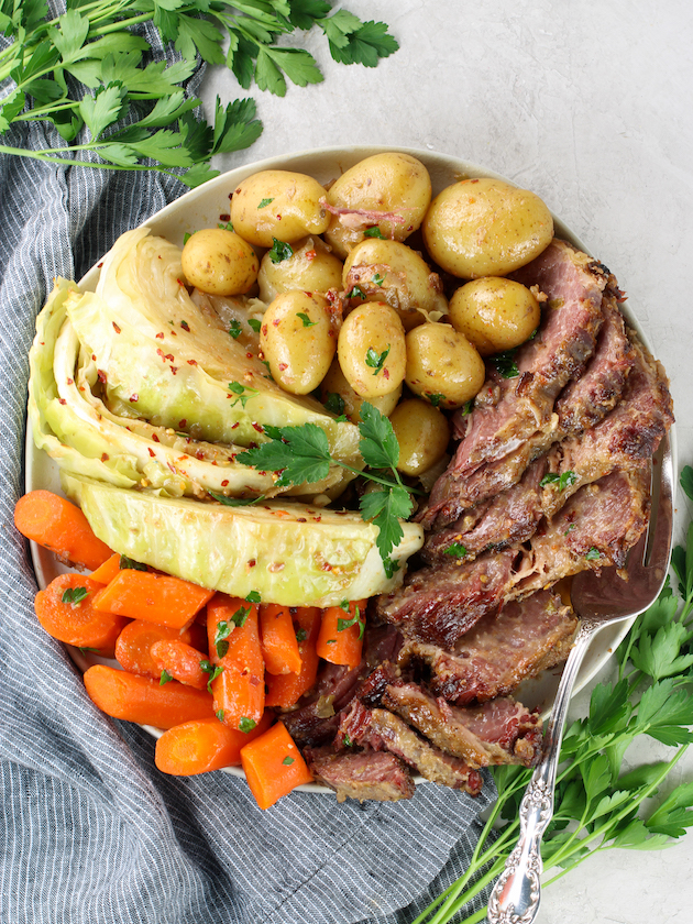Platter of corned beef & cabbage with veggies