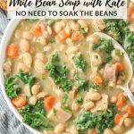 bowl of white bean soup with ham and kale