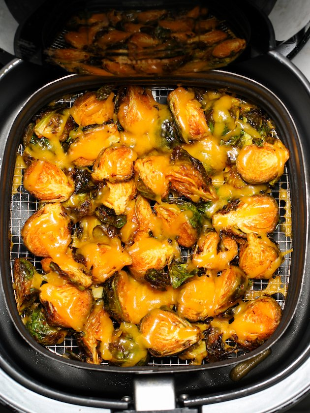 Cheesy air fryer buffalo brussels sprouts