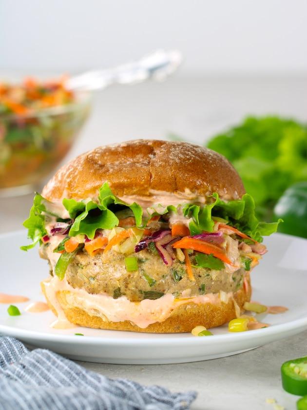 very close up eye level Asian tuna burger