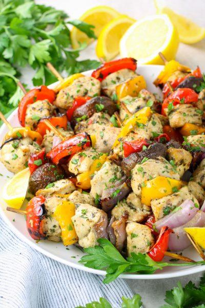 platter of air fryer chicken kabobs