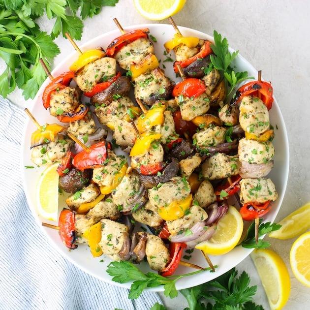 air fryer chicken kabobs on platter