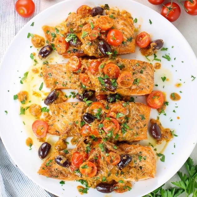 greek salmon with feta and kalamata olives
