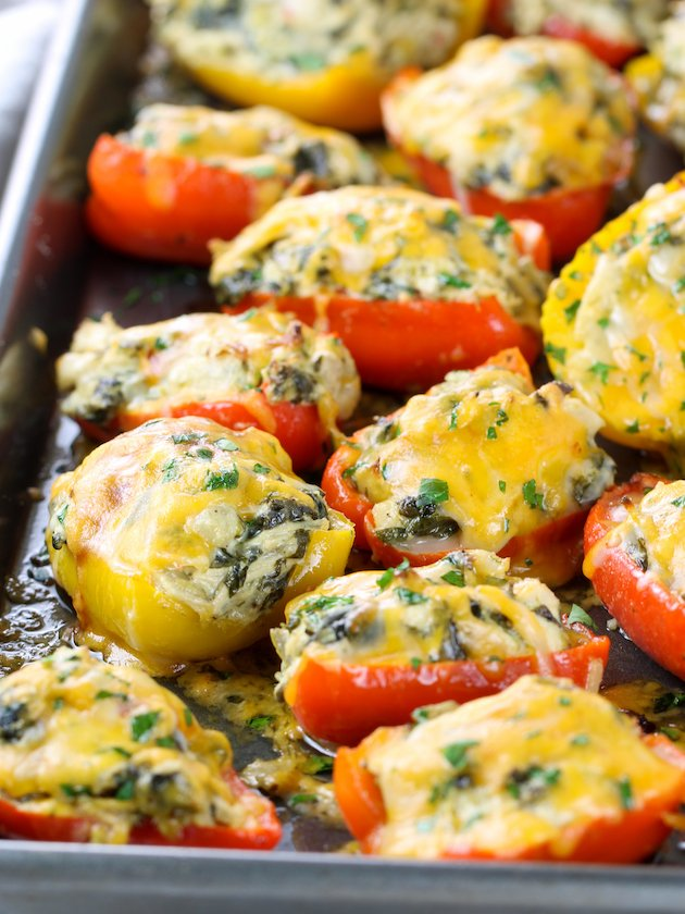 Spinach Artichoke Chicken Stuffed Peppers