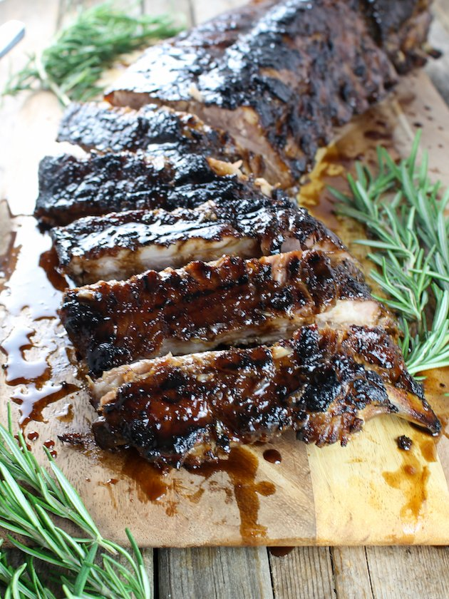 close up photo of balsamic ribs on a cutting board cut up