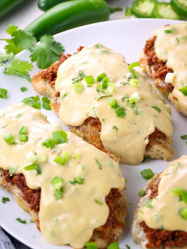 Grilled chicken with chorizo and cheese Sauce