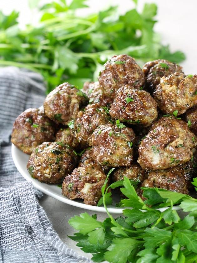 Partial platter of air fryer meatballs
