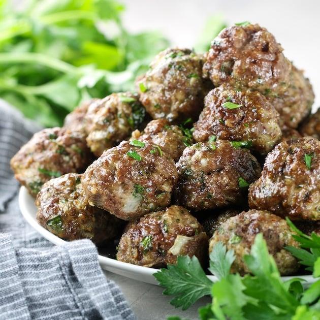 platter of air fryer meatballs