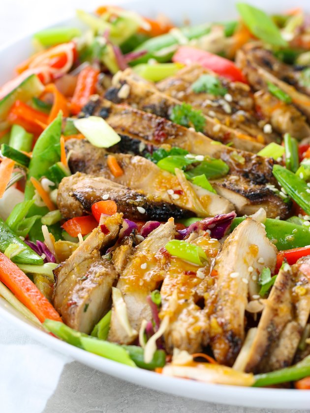 Close up eye level grilled chicken over asian salad