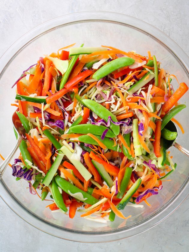 glass bowl with asian slaw