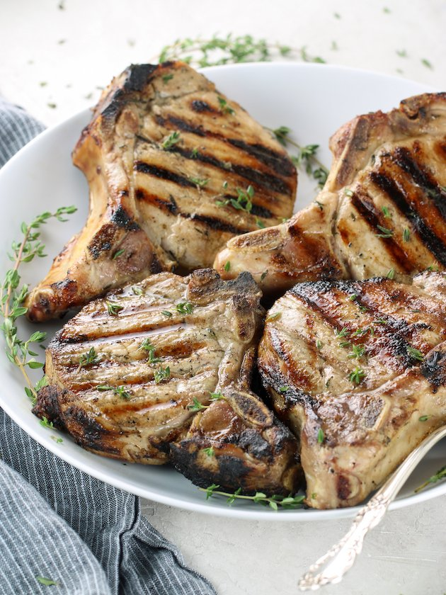 Eye level partial platter of grilled chops