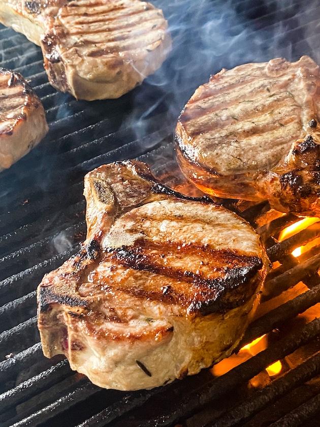 smoking grill searing porkchops