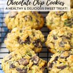 Eye level close up zucchini oatmeal chocolate chip cookiescooling on wire rack