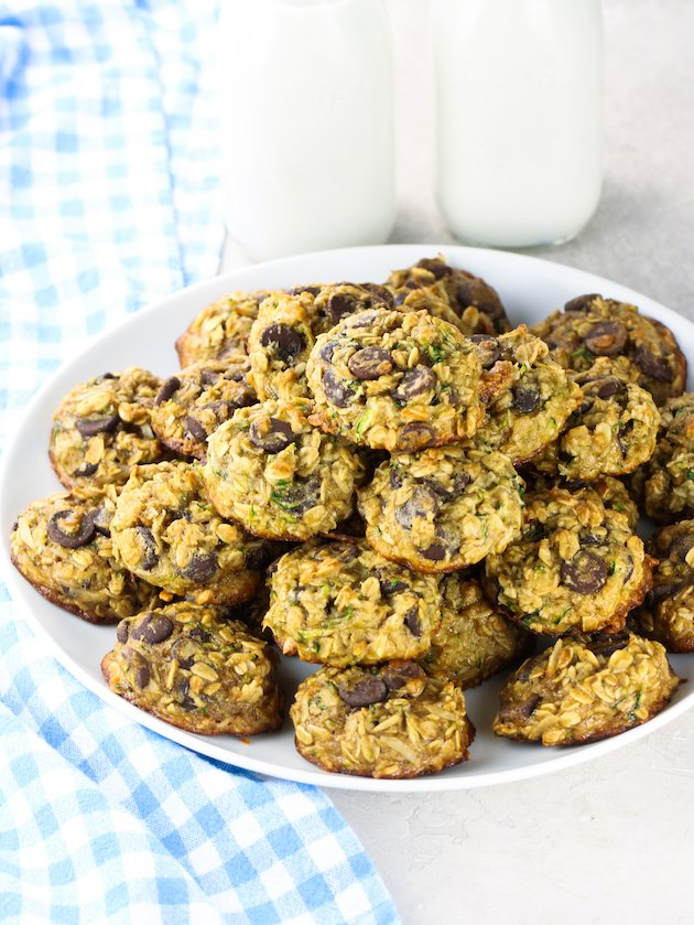 stack of zucchini oatmeal cookies on a platter