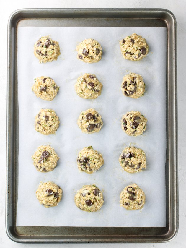 oatmeal cookies on baking sheet before cooking