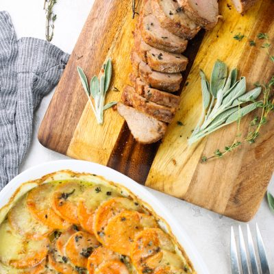 Smoked Cherrywood Chipotle Pork Tenderloin with Sweet Potato and Gruyere Gratin